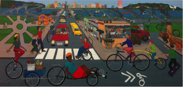 This Portland mural depicts one imaginary of what the so-called sustainable city can and does look like (for some). Artist: Sara Stout. Source: Author.