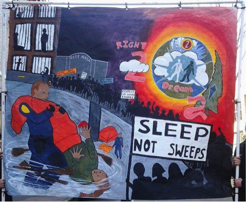 A poster made by Portland activists, asserting their right to sleep and dream. Source: R2DToo Facebook page.